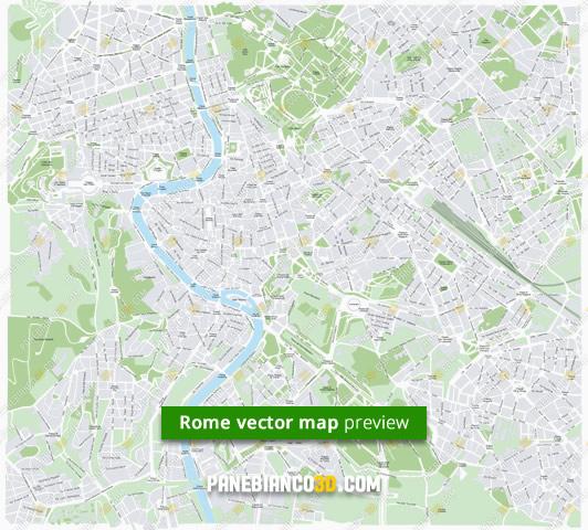 Roma Centro Cartina.Mappa Di Roma In Formato Vettoriale Ad Alta Risoluzione