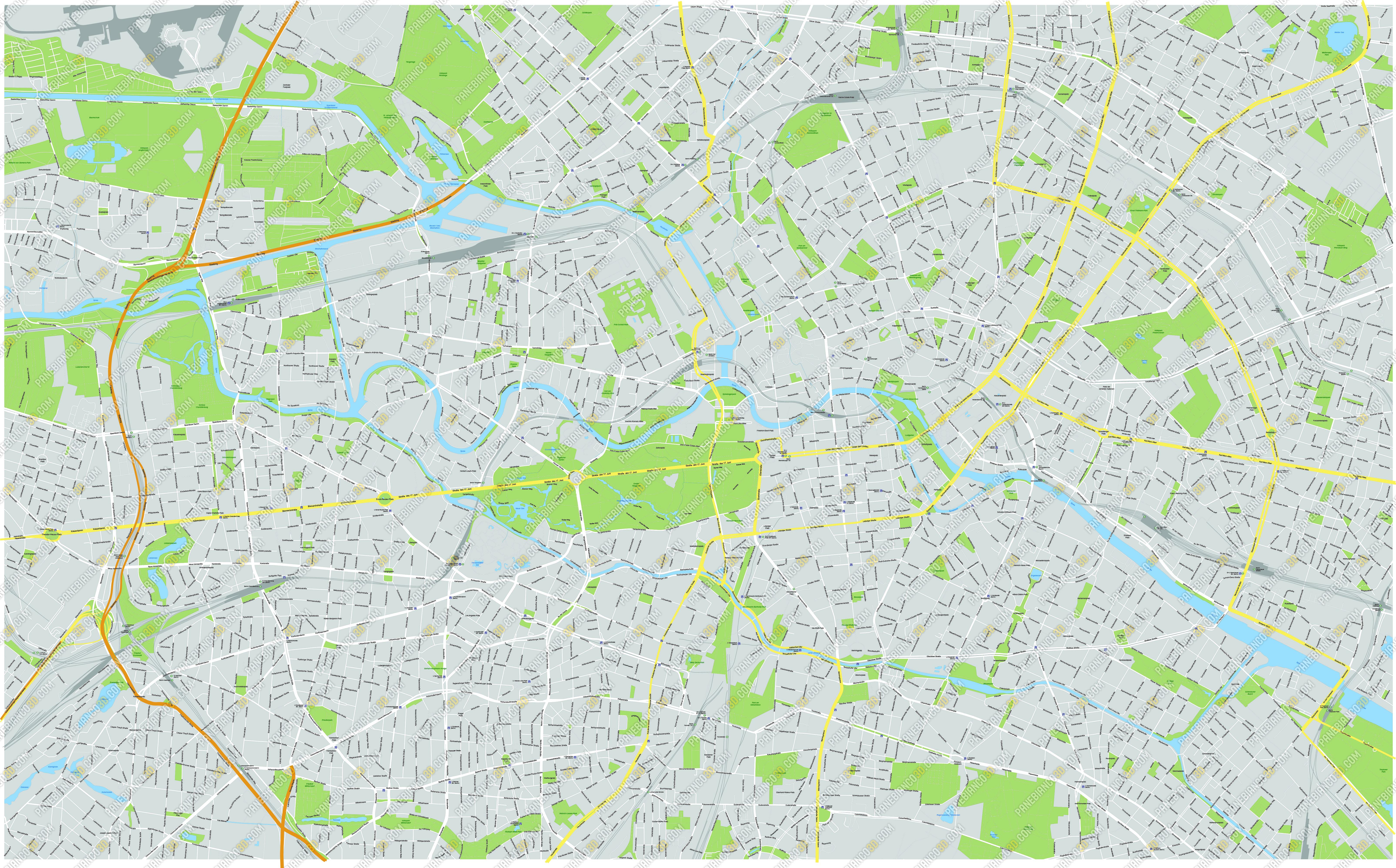 Pianta Muro Berlino : Mappa vettoriale di berlino in formato eps e ai modificabile