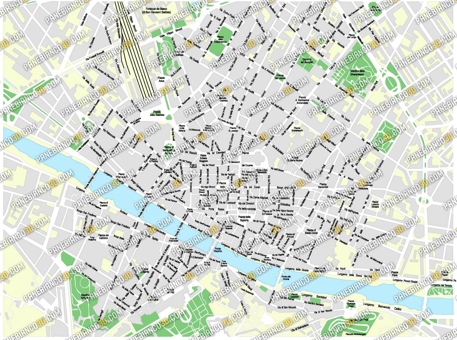Cartina Citta Di Firenze.Mappa Di Firenze In Formato Vettoriale Ad Alta Risoluzione