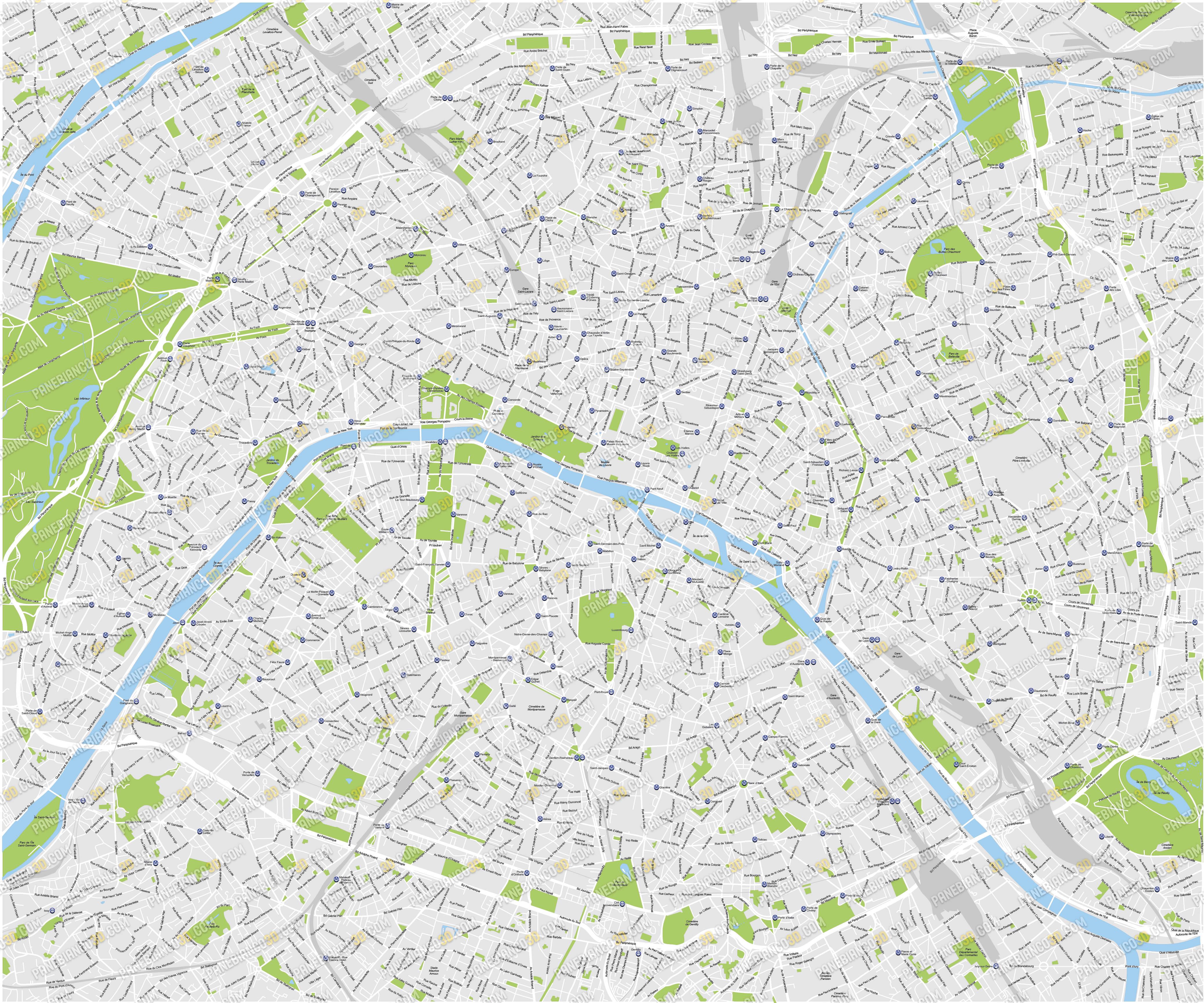 Cartina Parigi Con Quartieri.Mappa Vettoriale Della Citta Di Parigi Mappa Modificabile In Formato Eps E Ai